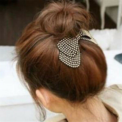 Simple Style Rivet Fabric Double Bow-knot Hairpin Female Hair Accessories B