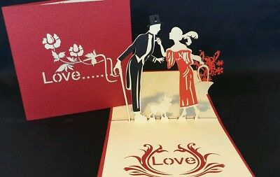 3D Pop Up Card - Love Couple.(Valentine's day,Engagement, Anniversary, Wedding..