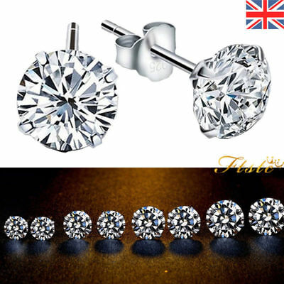 Women Men Genuine 925 Solid Sterling Silver Cubic Zirconia Round Stud Earrings N