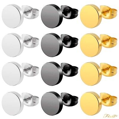 Pair of Women Men Silver Gold Stainless Steel Round Disc Ear Studs Earrings