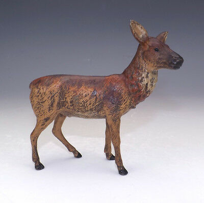 Antique Cold Painted Spelter Doe Deer Figure - Unusual!
