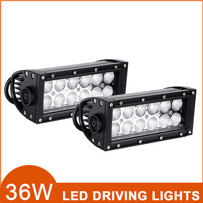 7 inch 36W LED Work Light Bar Flood Beam Offroad 4WD SUV UTE Driving Fog