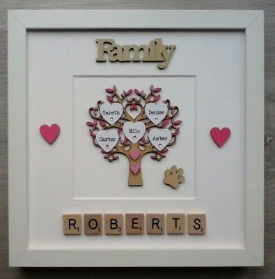 (b) Scrabble Art Picture Frame Painted Family Tree Personalised 30 Colour