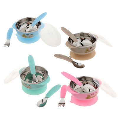 Stainless Steel Bowls Kids Baby Feeding Bowl Plates Dishes Snack Cereal Soup