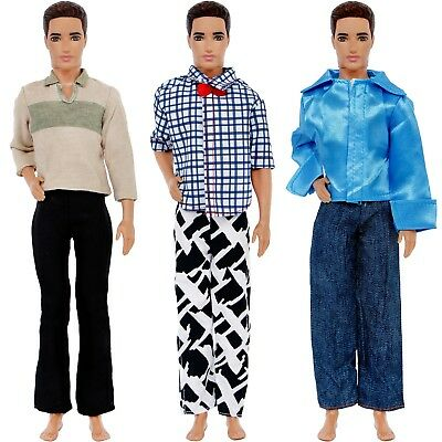 6 Pcs = 3 Outfits Fashion Casual Dress Shirt Pants Clothes For Barbie Ken Doll