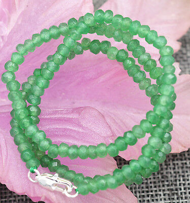 """New 2x4mm Faceted Myanmar Natural Emerald Abacus Gems Necklace 18"""" Silver clasp"""