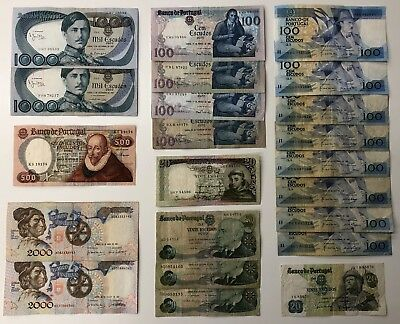 21 x Mixed Banknote Collection - PORTUGAL.  (2443)