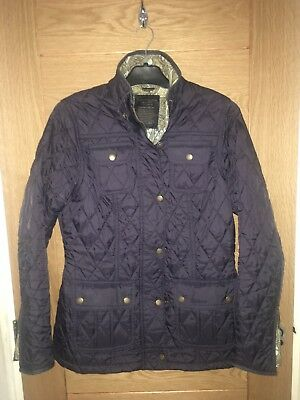 Womens Navy Quilted Barbour Coat Jacket Size 12