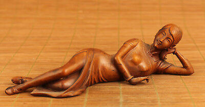 Big Rare chinese old chinese Boxwood Belle statue home decoration