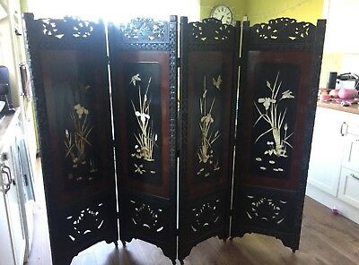 Carved Antique Japanese Wood Four Fold Screen With Shibayama Panel