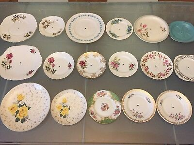 17 Vintage China Cake Stand Plates Very Pretty Floral Mismatch JOB LOT Tea Shop