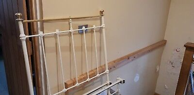 Original Brass And Iron Single Bed Antique White