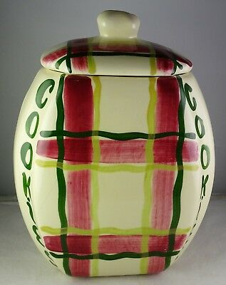 Purinton Pottery Plaid Cookie Jar Green & Red -  Looks Hardly Used - Unmarked