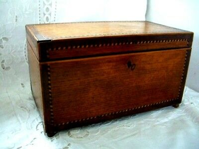 Tea Caddy / Antique Victorian Inlayed With Lids Nice