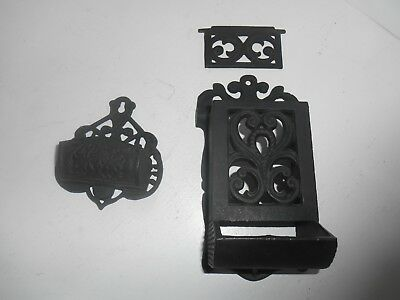 Vintage Decorative Cast Iron Wall Mount Match Box And Spent Match Accessory.