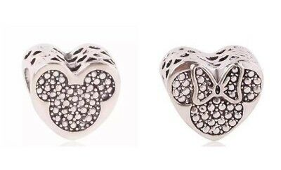 Disney Mickey and Minnie mouse love heart charm Bead Matching Silver European UK