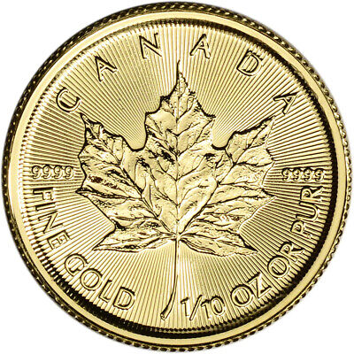 2019 Canada Gold Maple Leaf 1/10 oz $5 - BU