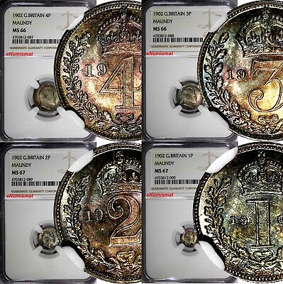 GREAT BRITAIN Edward VII Silver 1902 Maundy Set (4 Coin) NGC MS67,MS66 Toned