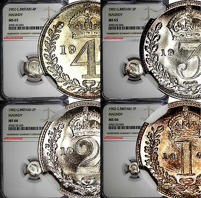 GREAT BRITAIN Edward VII Silver 1902 Maundy Set (4 Coin) NGC MS66,MS65 Toned