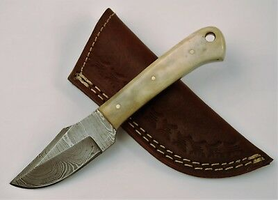 Full Tang Damascus Skinner Knife with Buffalo Bone Handle and Lanyard Hole