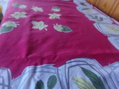 """1950's  Floral Tablecloth Vintage 48""""x48"""" Red's,Green's White"""