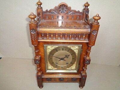 Antique Winterhalder & Hoffmeier oak ting tang bracket mantel clock