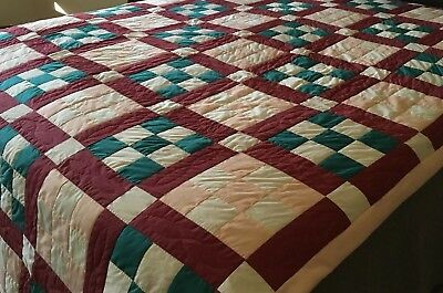 "Hand Quilted 9 NINE PATCH Cotton Quilt Twin Size 79""x103"" Amish Colors"