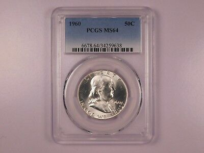1960 PCGS MS64 50C Franklin Half Dollar Uncirculated Certified Coin EC1221