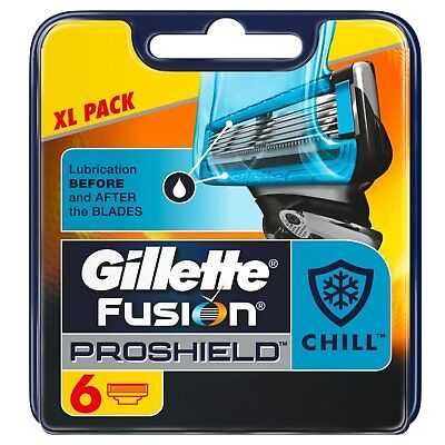 Gillette Fusion Pro Shield Chill Blades Cartridge Refills XL 6 Pack - UK pack