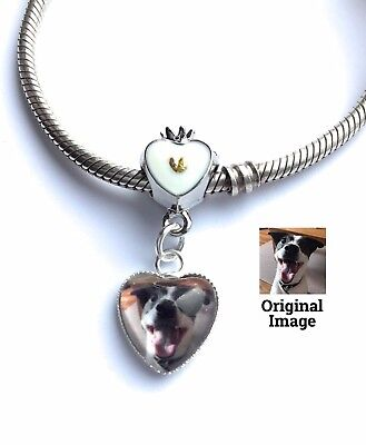 Personalised Photo Charm Memory Gift Crown Heart Valentine Bracelet Not Included