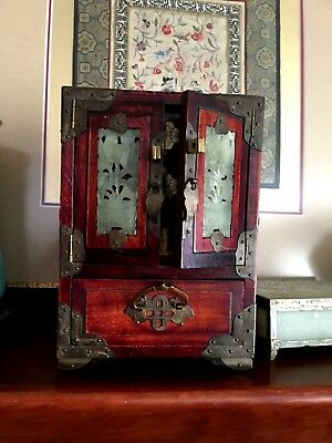 Exquisite Vintage Asian Chinese Jade Brass RoseWood Jewelry Box Chest