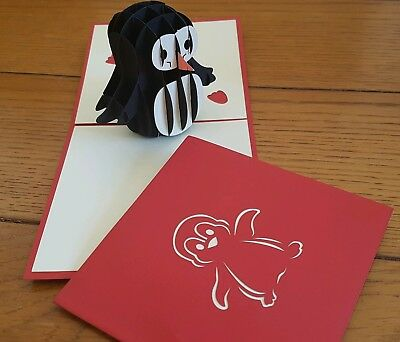 3D Pop Up Cutie Penguin Card.( Birthday, Congrats, Get well or any Occasions