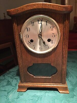 Antique German Wooden Case Mantle Clock With Westminster Chimes