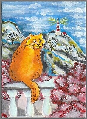 ACEO painting Fantasy - animal cat kitty kitten lighthouse mountain river nature