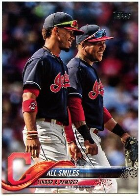 Lindor & Ramirez - Indians #US199 Baseball 2018 Topps Update Series Card (C2343)