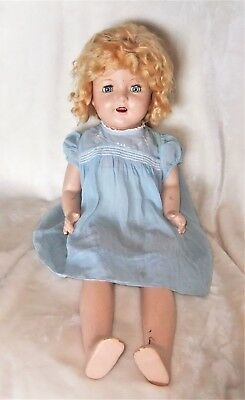 """Vintage 1930's  26"""" Composition & Fabric Doll - Shirley Temple?"""