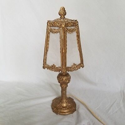 Intricate Elegant gold painted metal lamp - repaired  new wiring