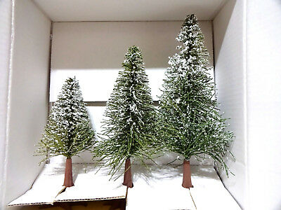 """DEPT 56 VILLAGE Frosted Norway Pines Trees Set of 3 ~ 7"""", 9"""" & 11"""", # 5175-6"""