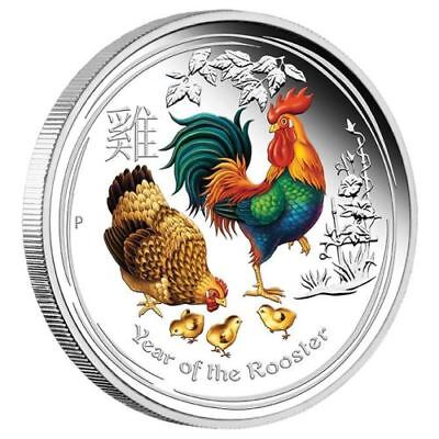 Lunar II 2017 year of the rooster, 2 oz silver coin, coloured, BU mint from roll