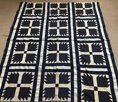 Antique quilt top Bear Paw 74 x 66 patchwork hand stitched