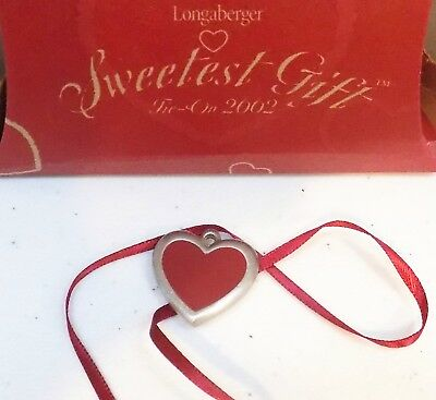 Longaberger 2002 Sweetest Gift Heart-Shape Pewter & Red Epoxy Tie-On - NIB