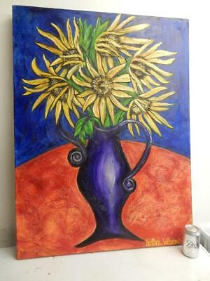 really LARGE old PAINTING oil SUN FLOWERS signed HEATHER WILSON