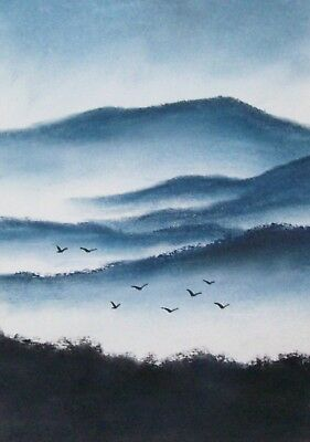 Original The Early Morning Mist Watercolour/pastel Painting