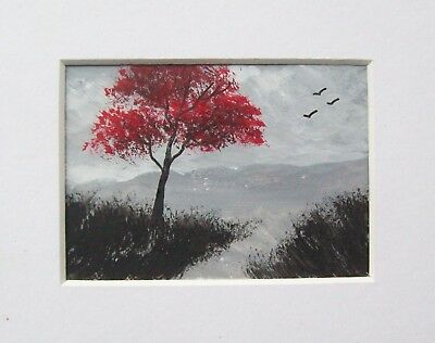 Original The Old Red Tree 2# Landscape Miniature Aceo Painting