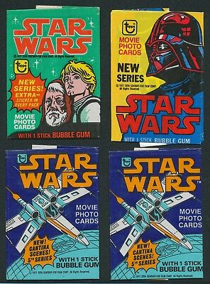 (4) 1977 Topps Star Wars Wax Pack Wrappers Non-Sports Trading Cards Lot