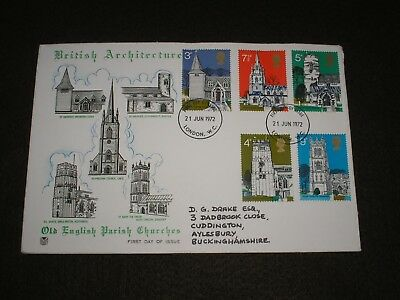 1972 GB Stamps BRITISH ARCHITECTURE Stuart First Day Cover LONDON FDI Cancels