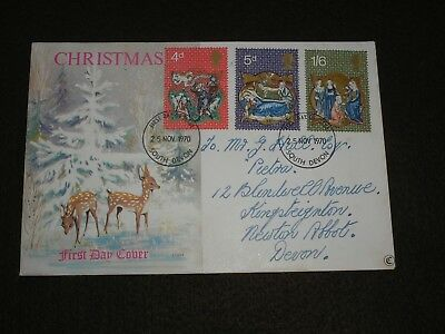 1970 GB Stamps CHRISTMAS Connoisseur First Day Cover SOUTH DEVON FDI Cancels