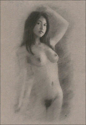 Female Nude DRAWING ORIGINAL Charcoal Chalk Art naked Asian woman NO RESERVE