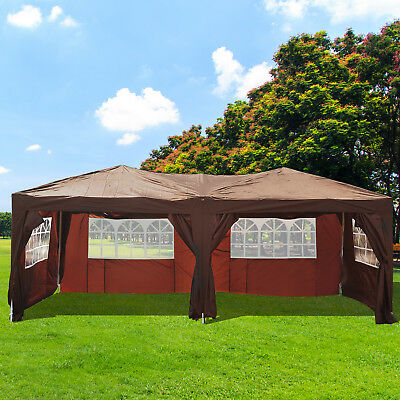 10 x 20ft Pop Up Canopy Tent Patio Gazebo Wedding Party Outdoor Shelter Coffee