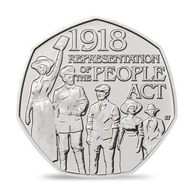 * Representation Of The People Act 1918 - 50p Fifty Pence coin 2018 - Free P&P